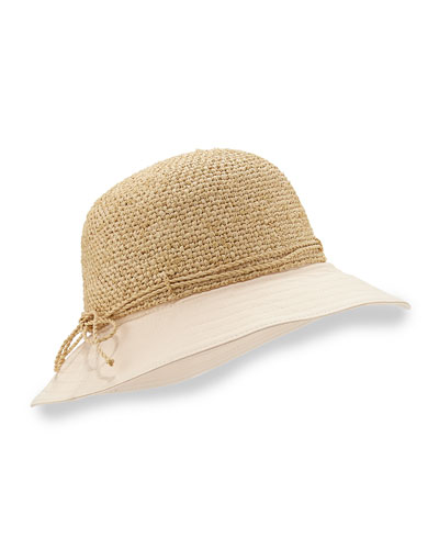 Kuya 8cm Raffia & Crochet Bucket Hat, Natural/Shell