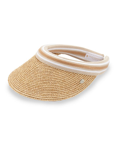 Marina Striped-Band Raffia Visor, Brown