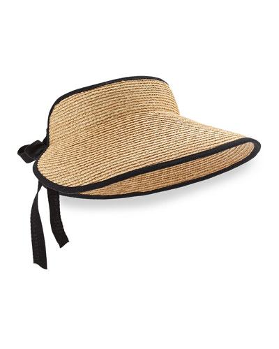 Mita Tie-Back Raffia Visor, Natural/Midnight