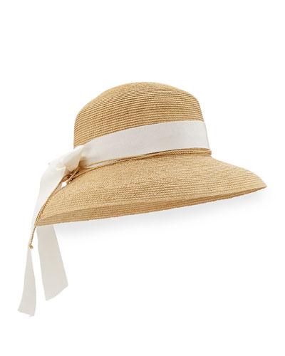 Newport Standard Raffia Hat, Natural/Pearl