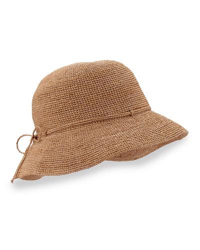 """Provence 8"""" Brim Raffia Hat, Nougat"""
