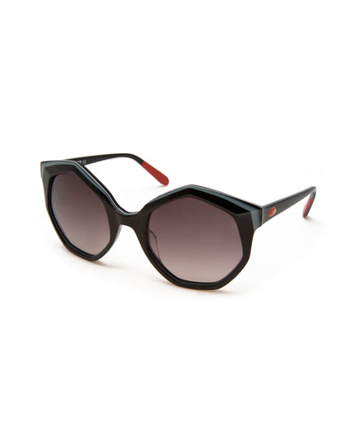 Seven-Sided Butterfly Sunglasses, Black