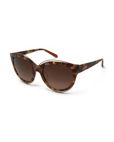 Rounded Cat-Eye Sunglasses, Brown Havana