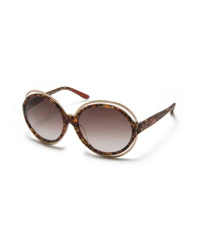 Round Acetate Sunglasses, Havana