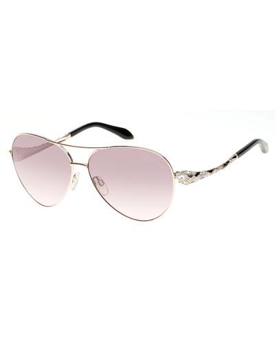 Muphrid Snake-Temple Aviator Sunglasses, Rose Golden