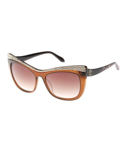Muscida Snake-Brow Cat-Eye Sunglasses, Brown/Leopard
