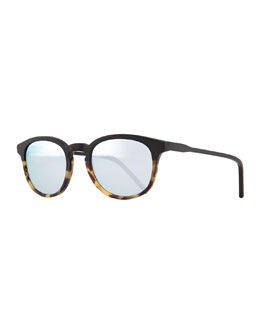 Anto Round Colorblock Mirror Sunglasses, Black/Brown