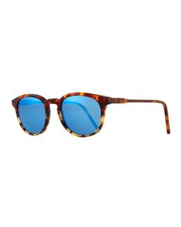 Anto Round Colorblock Mirror Sunglasses, Tortoise/Blue