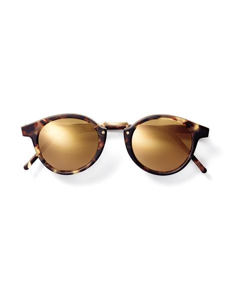 Frank Round Mirror Sunglasses, Tortoise/Golden