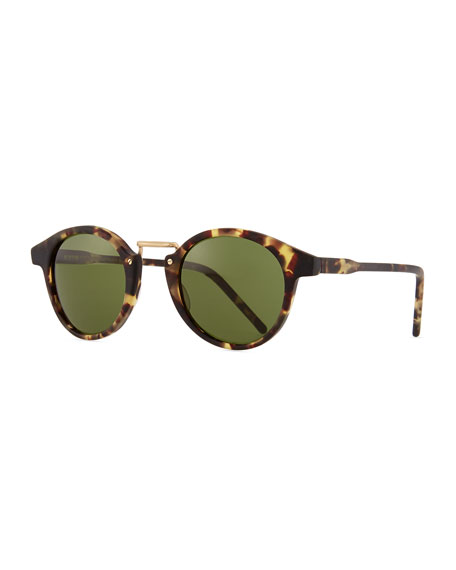 KYME Frank Round Pantos Sunglasses, Tortoise/Green