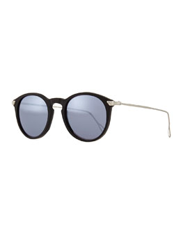 Mark Round Pantos Mirror Sunglasses, Black/Silver