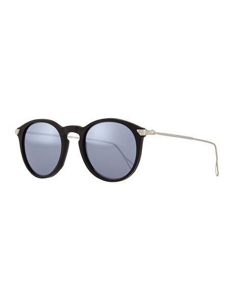 KYME Mark Round Pantos Mirror Sunglasses, Black/Silver