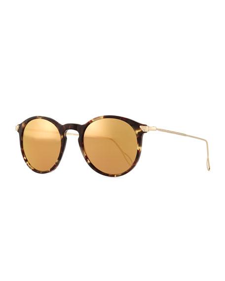 KYME Mark Round Pantos Mirror Sunglasses, Tortoise Acetate/Gold