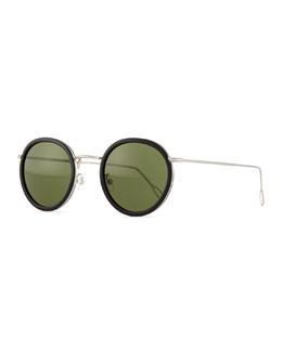 Matti Round Mirror Sunglasses, Black/Green