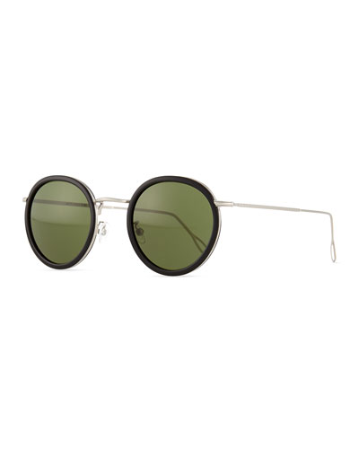 Matti Round Mirror Sunglasses, Black/Green