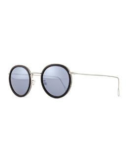 Matti Round Mirror Sunglasses, Black/Silver
