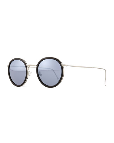 Matti Round Mirror Sunglasses, Black/Silver