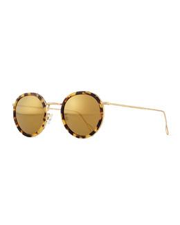 Matti Round Mirror Sunglasses, Tortoise/Gold