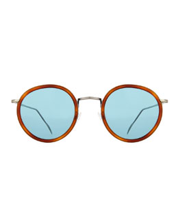 Matti Round Mirror Sunglasses, Light Brown/Blue