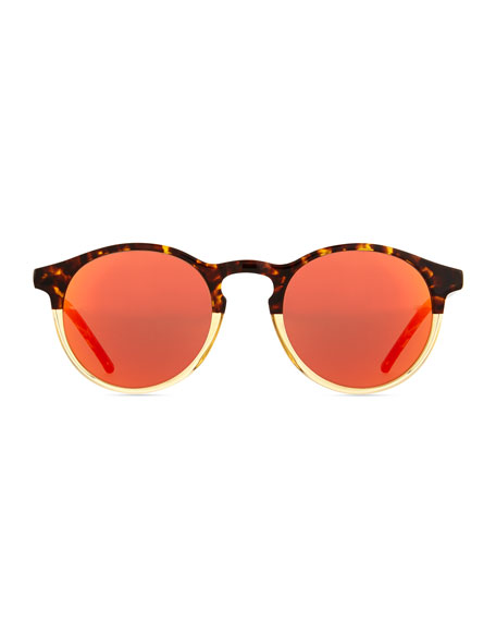 Miki Round Pantos Mirror Sunglasses, Tortoise/Orange