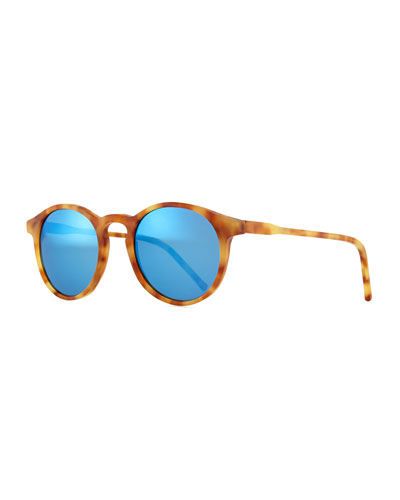 Miki Round Pantos Mirror Sunglasses, Light Brown/Blue