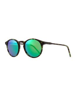 Miki Round Pantos Mirror Sunglasses, Black/Green
