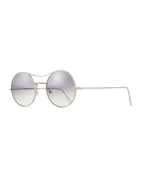 KYME Ros Round Mirror Sunglasses, Silver
