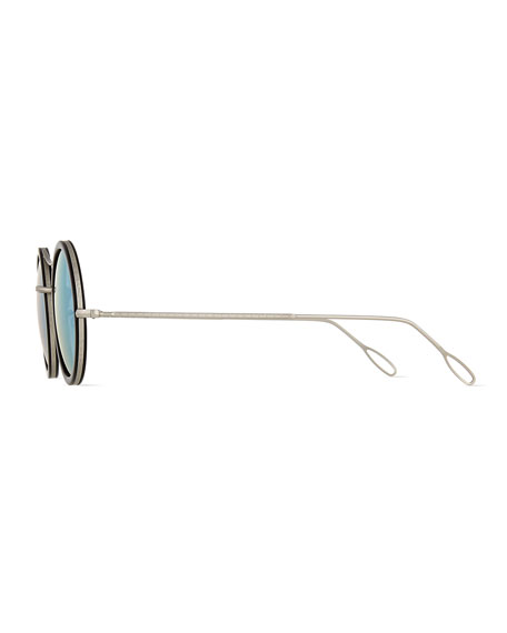 Ros Cell Mirror Sunglasses, Black/Silver