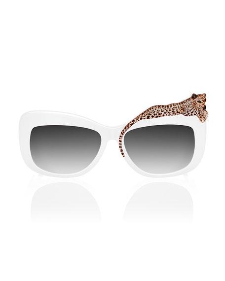 Rose Et La Mer Leopard Sunglasses, White