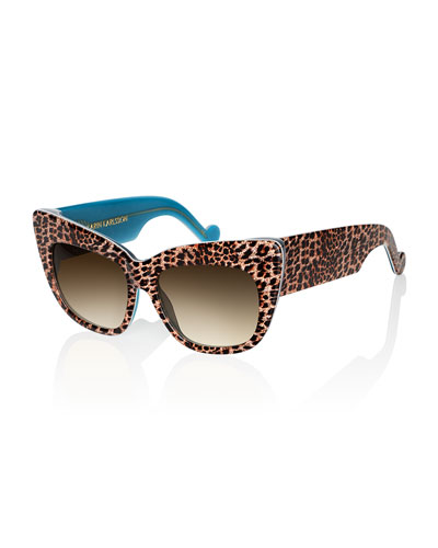 Alice Goes To Cannes Sunglasses, Gold Leopard