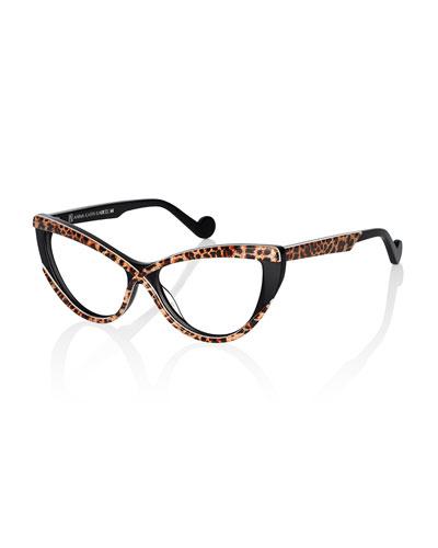 Luscious Cat-Eye Fashion Glasses, Gold/Leopard