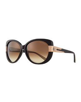 Plastic Round Sunglasses, Black/Brown
