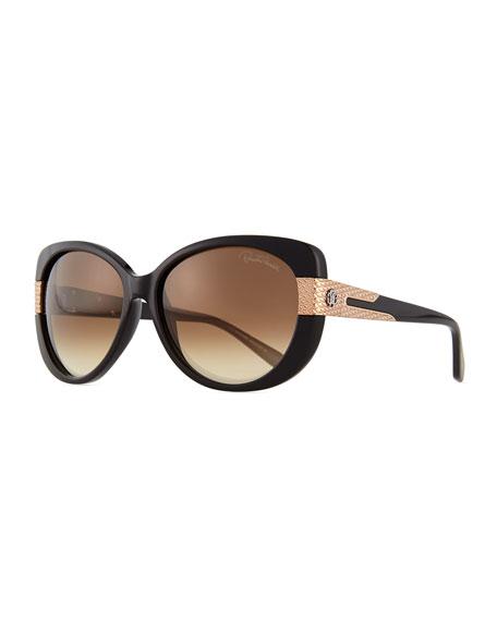 Roberto Cavalli Plastic Round Sunglasses, Black/Brown