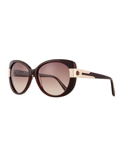Plastic Round Sunglasses, Havana