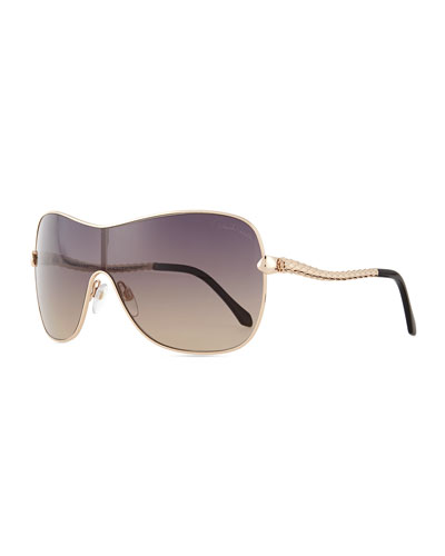 Etched Metal Aviator Sunglasses, Rose Golden