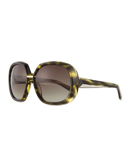 Acetate Round Sunglasses, Green/Smoke