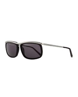 Metal/Acetate Square-Frame Sunglasses, Black/Ruthenium