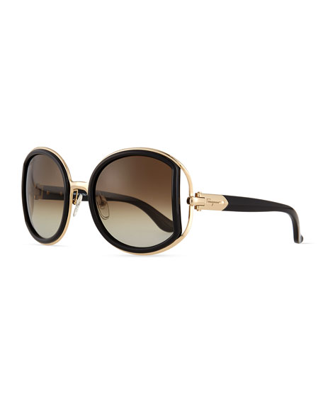 Salvatore Ferragamo Round Sunglasses with Buckle Detail, Black