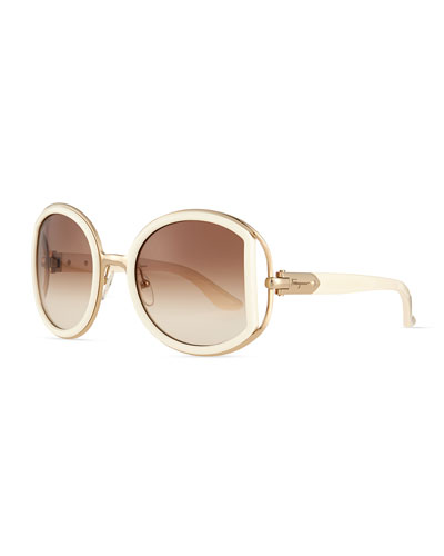 Round Sunglasses with Buckle Detail, Ivory