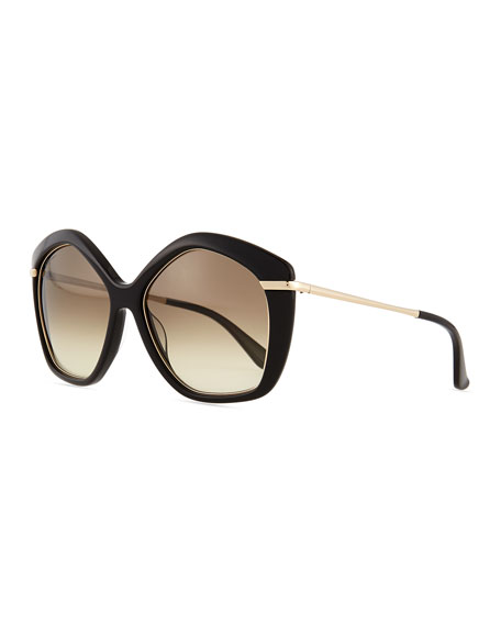 Salvatore Ferragamo Pentagon Butterfly Sunglasses, Black