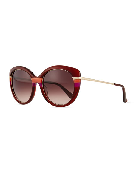 Salvatore Ferragamo Butterfly Sunglasses with Golden Detail, Wine