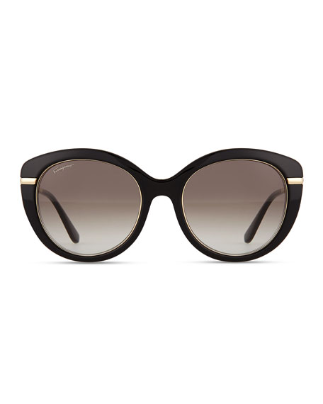 Butterfly Sunglasses with Golden Detail, Black