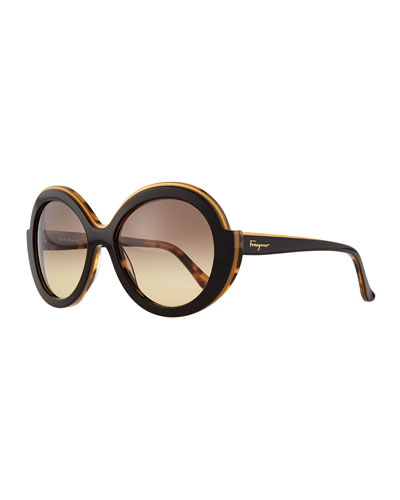 Round Colorblock Sunglasses, Black/Brown