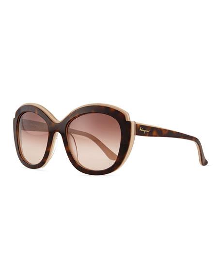 Rounded Square Sunglasses  salvatore ferragamo rounded square sunglasses beige