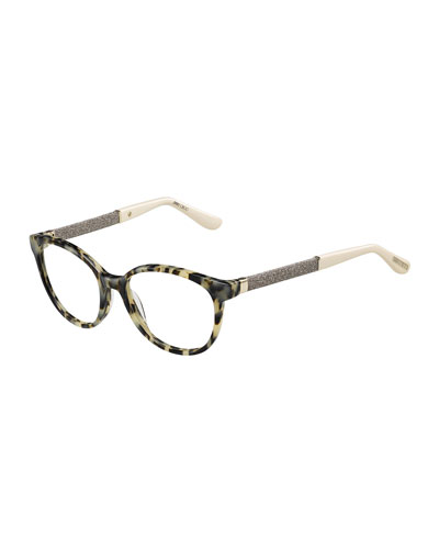 Shimmer-Temple Optical Frame, Light Havana