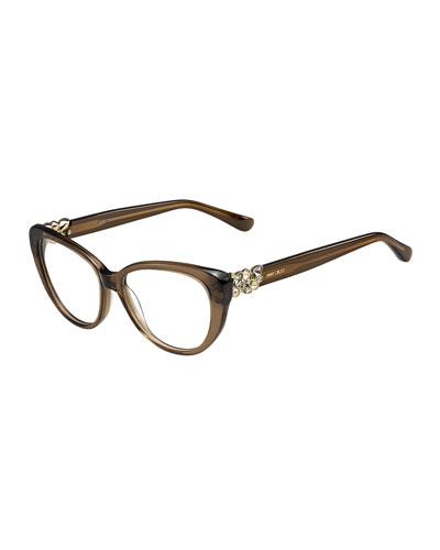 Cat-Eye Optical Frame w/Jewel Temple, Brown