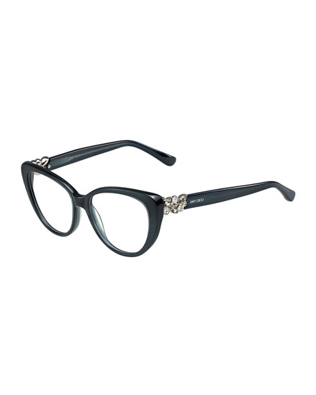 Jimmy Choo Cat Eye Optical Frame W Jewel Temple Dark Gray