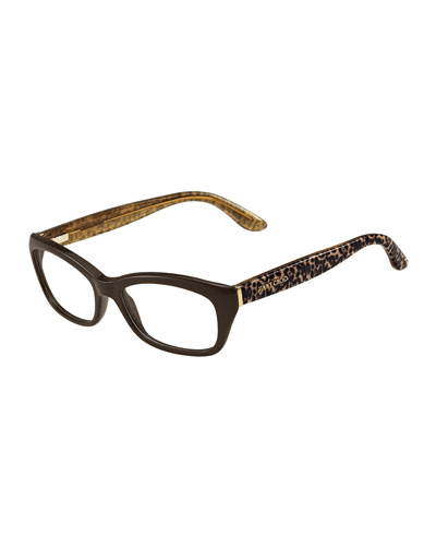 Animal-Temple Optical Frame, Brown