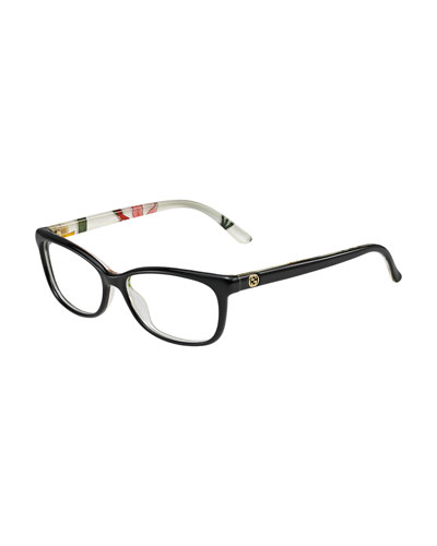 Square Floral-Back Fashion Glasses, Black