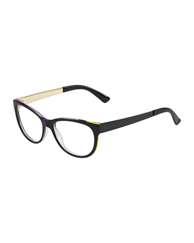 Square Floral-Edge Fashion Glasses, Black